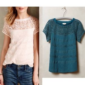 Anthropologie Teal-Green Gossamer Lace Tee Sz XS